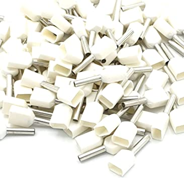 White 0.5mm Bootlace Ferrule Connectors Pack of 100