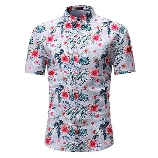 173d4bf3c95 GREFER Man Retro Floral Printed Blouse Casual Short Sleeve Slim Shirts Tops  Gray (M