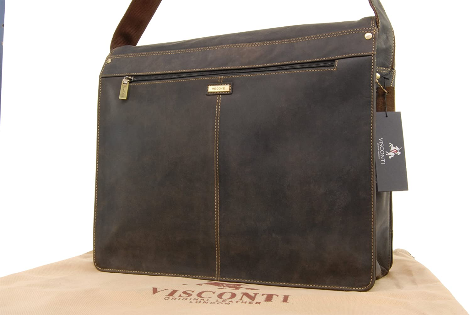 VISCONTI - HARVARD 16054 - Bolso bandolera para portátil - Cuero Hunter - XL - Marrón: Amazon.es: Equipaje