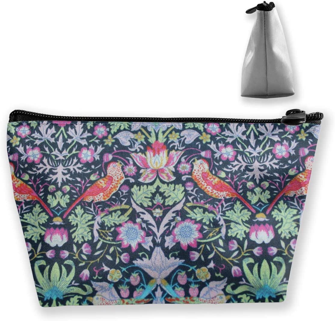FJSLIE William Morris Strawberry Thief Women Cosmetic Bags Multi Function Toiletry Organizer Bags,Hand Portable Pouch Travel Wash Storage Capacity with Zipper(Trapezoidal)
