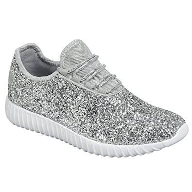 2b33782d96a Forever Link Women s REMY-18 Glitter Fashion Sneakers Silver 5