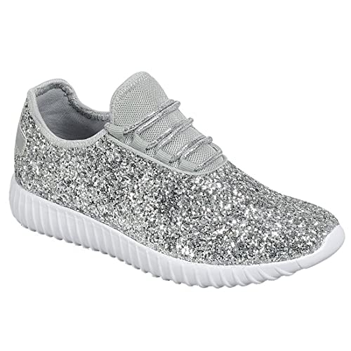 Forever Link Women s REMY-18 Glitter Fashion Sneakers Silver 5 49ad03c1aa