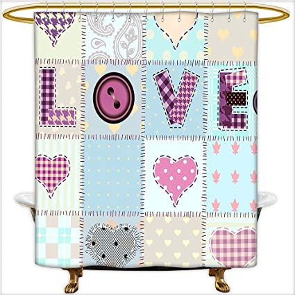 Qinyan Home Bathroom Curtain With Removable Love Lettering Generated Diverse Retro Repeat Figures Pieced