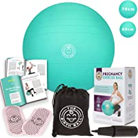 Pelota de nacimiento para embarazo, pelota de trabajo + 18 pg de guía de ejercicios de bola de embarazo por Trimester Cómo dilatar, cómo reposicionar al bebé y más de 2000 libras de límite de estrés
