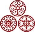 Silicone Trivet Mat - Hot Pot Holder Hot Pads for Table & Countertop - Teapot Trivet Kitchen Trivets - Non-Slip & Heat Resistant Modern Kitchen Hot Pads for Pots & Hot Dish Merlot Red Trivet Set of 3