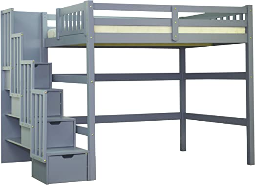 Amazon Com Full Size Staircase Loft Bed Grey Kitchen Dining
