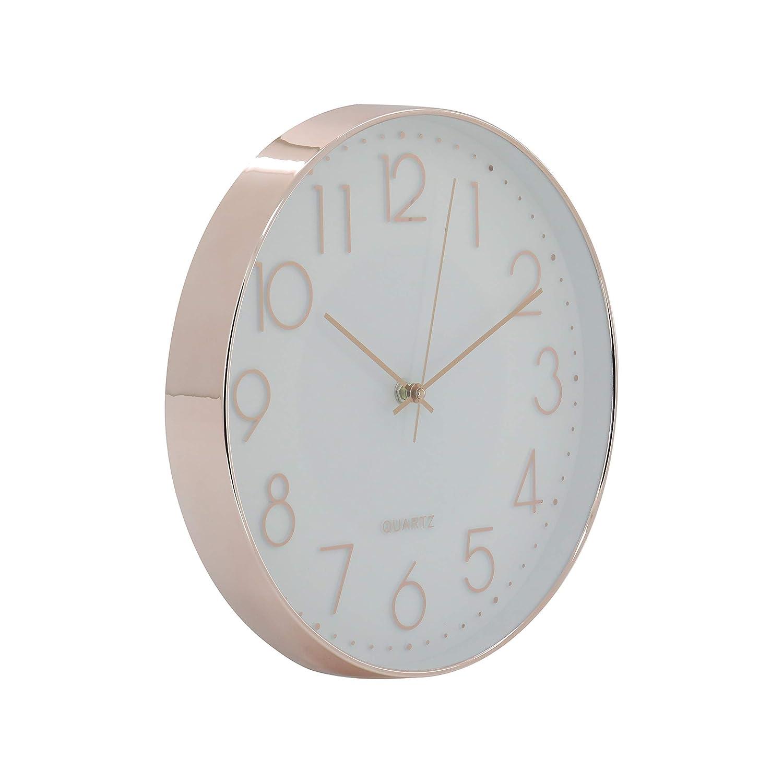 30 cm de diam/ètre Elegance by Casa Chic Blanc et Noir Horloge Murale M/écanisme Quartz Silencieux