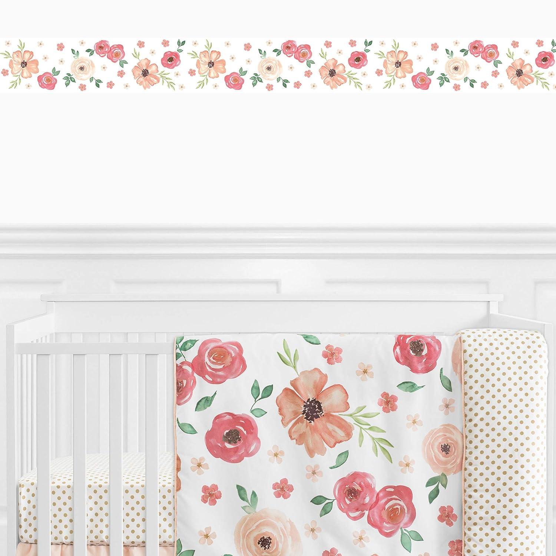 Amazon Com Sweet Jojo Designs Peach And Green Wallpaper Wall