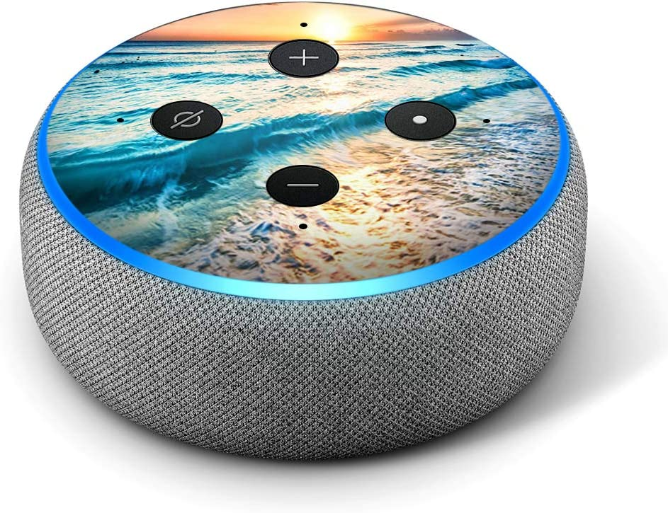 Sunset on Beach Kids Vinyl Decal Skin Compatible with  Echo Dot 3rd Generation Alexa Birthday Great Accessories Gift for mom Decorations for Your Smart Home Speakers dad
