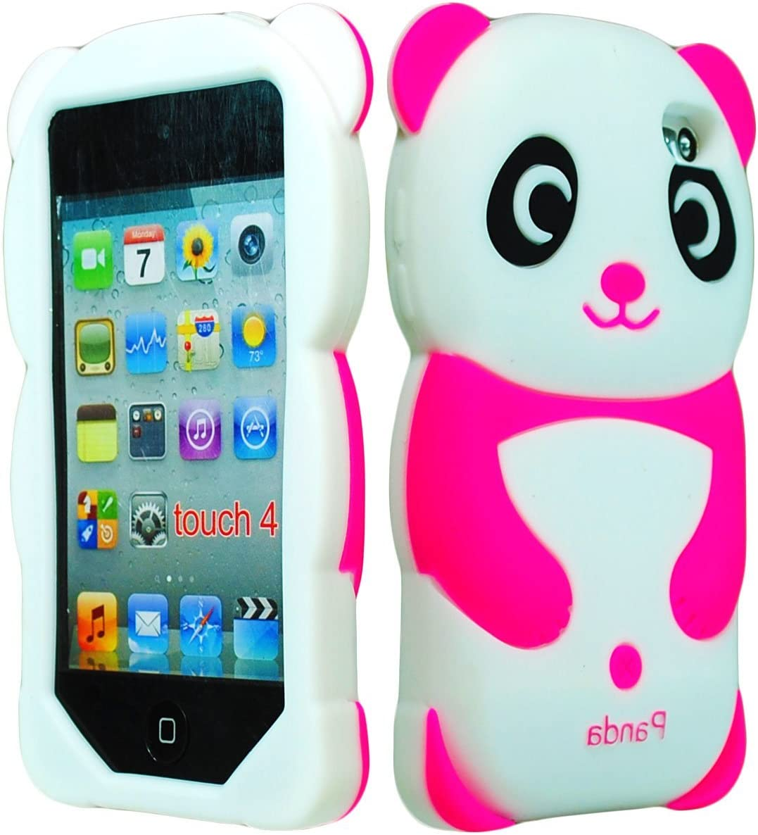 iPod Touch 4 Case Bastex 3D Silicone Hot Pink /& White Panda Bear Case for Apple iPod Touch 4