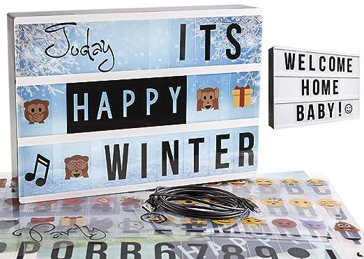 Gadgy ® Caja de Luz cinematográfica A4 | con 4 Fondo, 40 Emojis, 6 Palabras, Cable USB, 85 Letras Symbolos Numeros Negro | Vintage Lightbox | Bateria ...