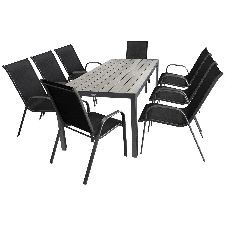 9tlg. Gartengarnitur Aluminium Polywood Gartentisch 205x90cm + ...