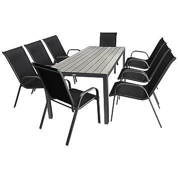 9 Pièces salon de jardin table de jardin en Polywood et Aluminium ...