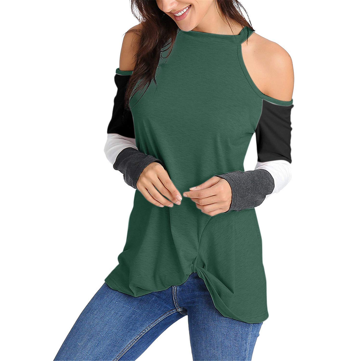 TIFENNY Sexy Cold Sleeve Shirt for Womens Long Sleeve Hem Tie Pullover Casual Tops Holiday Color Block Sweatshirt
