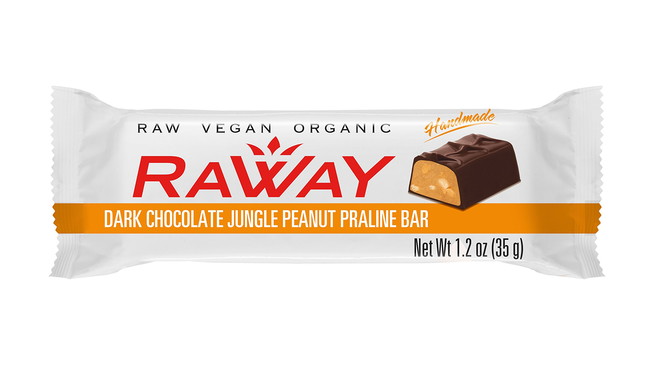 Raway Raw Vegan Chocolate Bars - Dark Chocolate Jungle Peanut Praline - Box 12 Bars by Raway