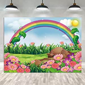 Cartoon Spring Photography Backdrop Enchanting Garden with Rainbow Sun Flowers Background Kids Children Birthday Party Baby Shower Decoration Photoshoot Props 5x3FT