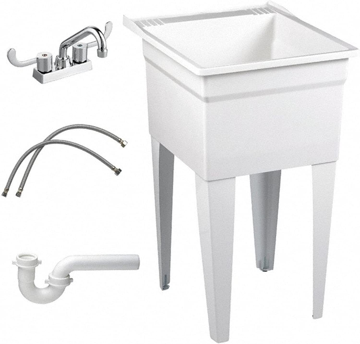 American Standard FL7TG100 Fiat Showers Molded Stone Floor Mnt Laundry Tub To Go, White