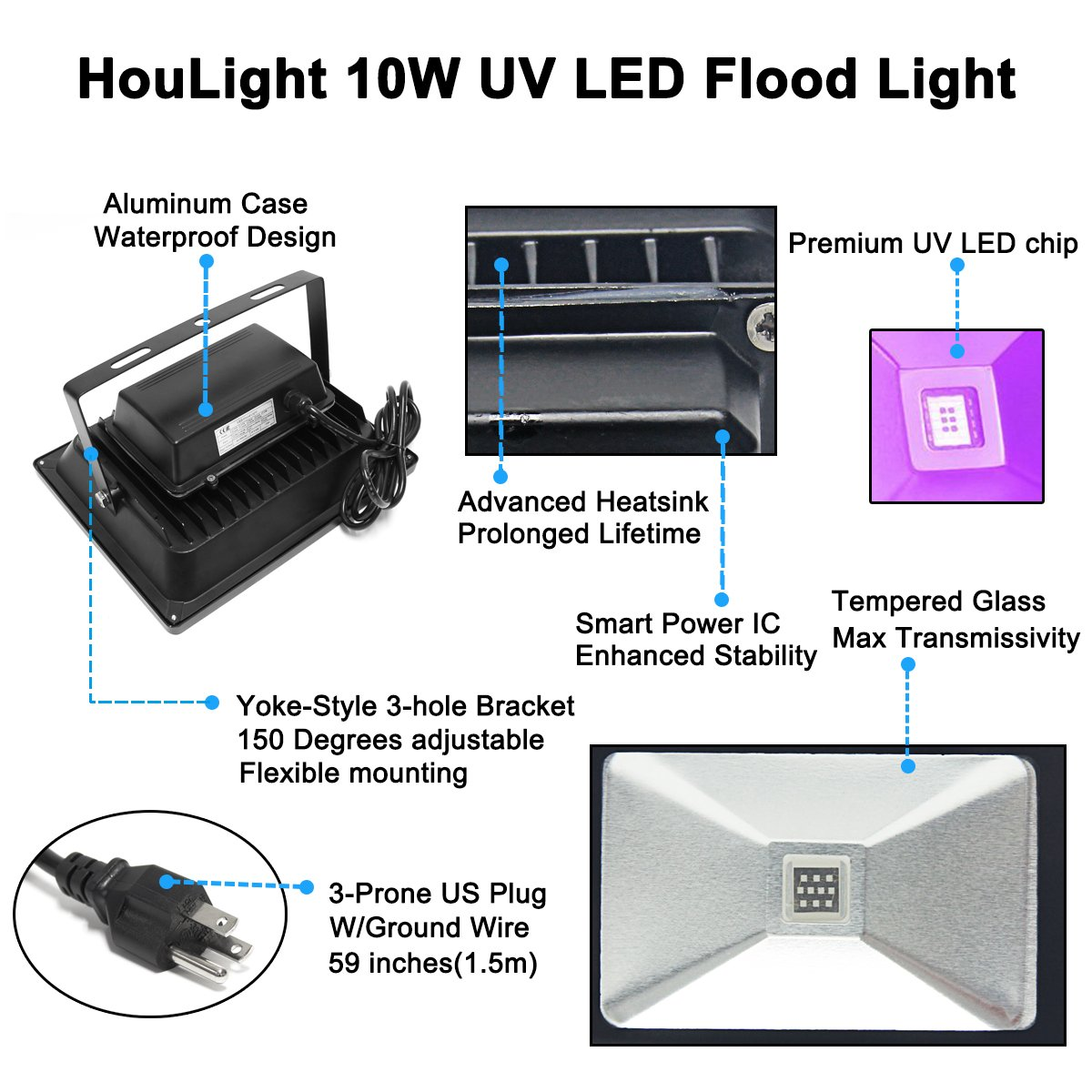 Signstek 50w Uv Led Black Light Ultraviolet Flood Ip65 Wiring Lampu Tl Waterproof For Party Supplies Neon Glow In The Dark Fishing Aquarium