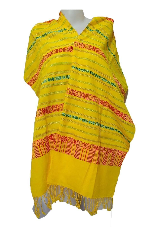 Laotian Jok Sabai Cotton Fabric Thai Lao Laos Textile Scarf Shawl Yellow Sc66