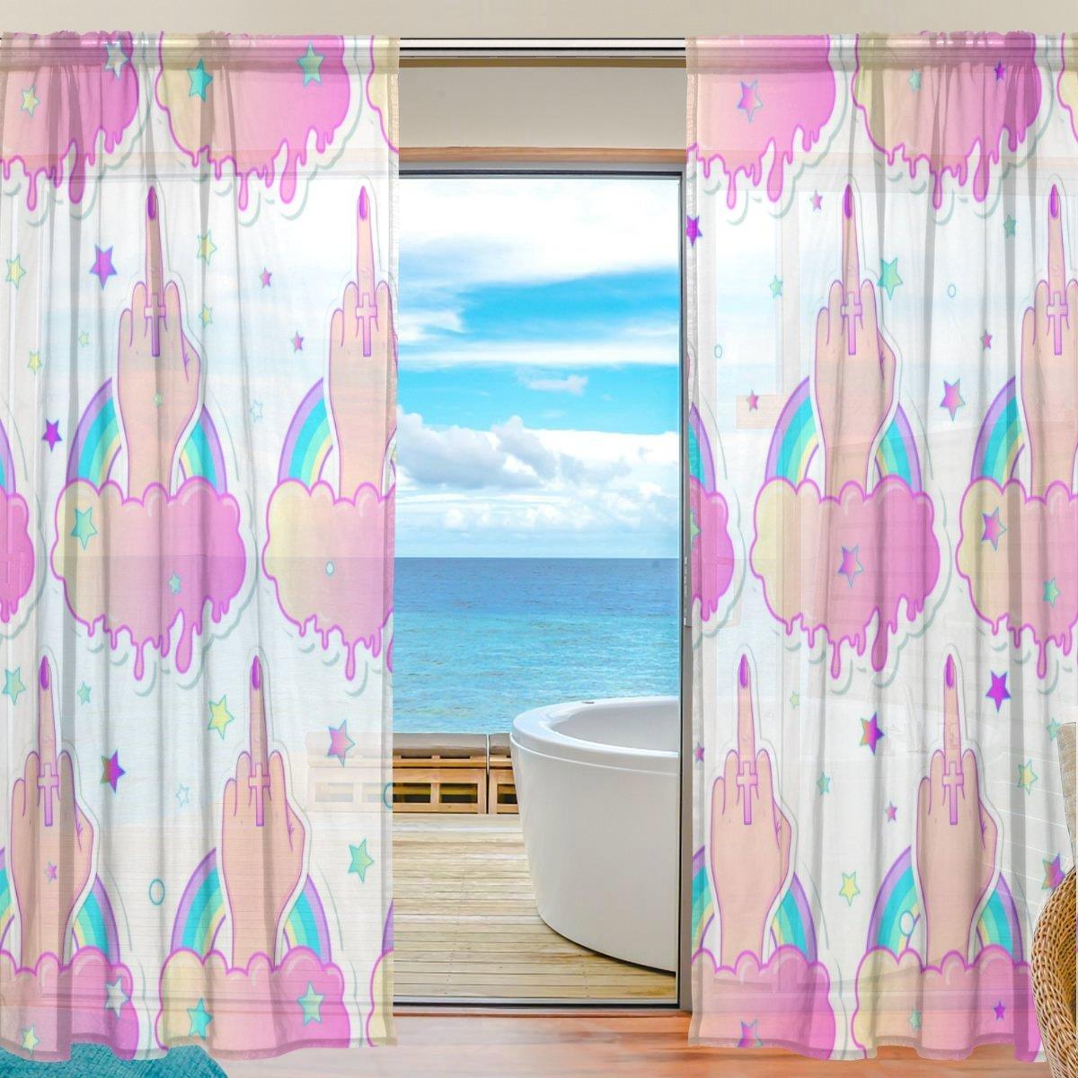 Amazon.com: DEYYA Home Middle Finger Sheer Window Curtains Panel ...