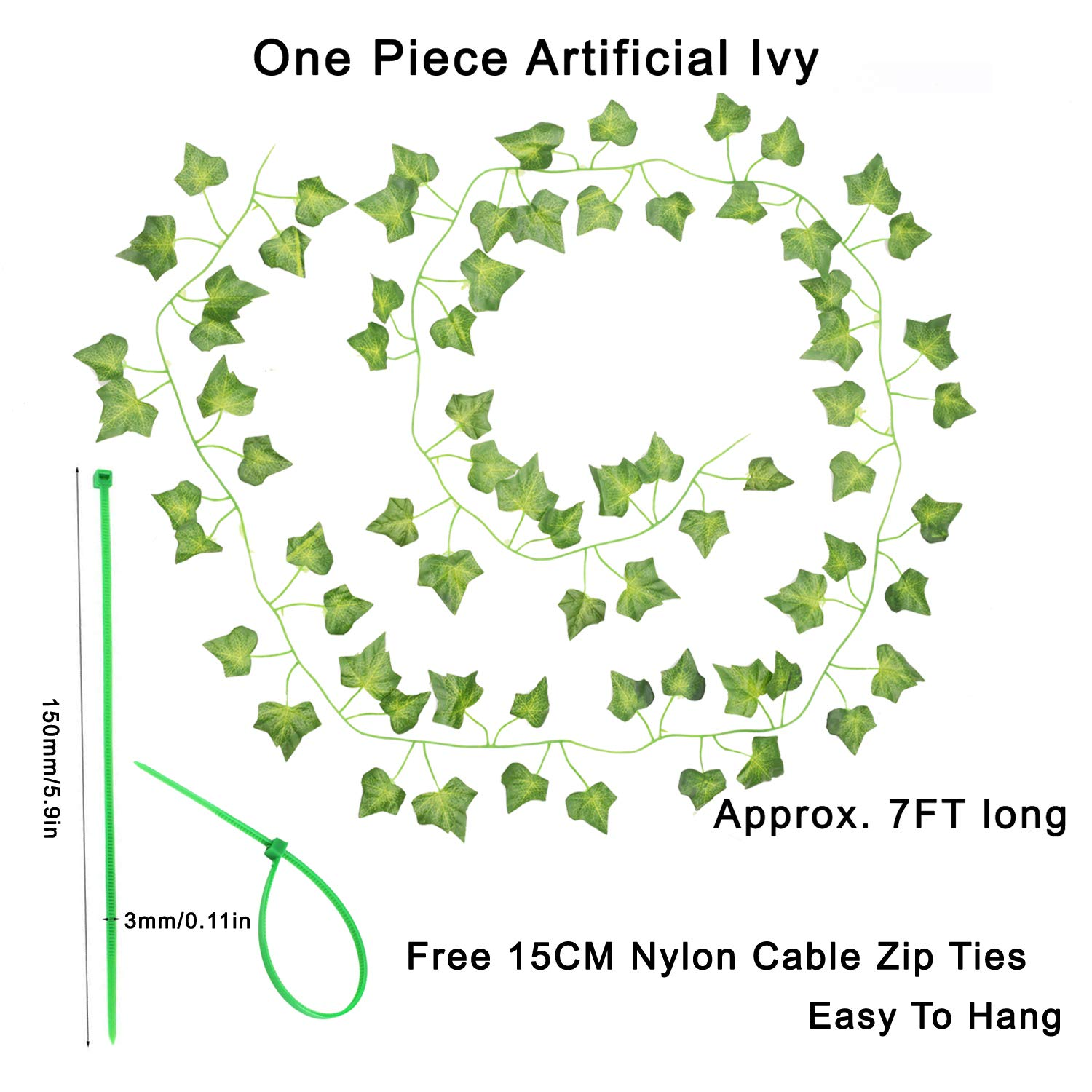 Fake Leaves Plants Greenery Garlands Hanging for Wedding Party Garden Wall Decoration With 24pcs Cable Ties 12 Pack Fake Ivy AUERVO Artificial Ivy 12 Each 80 inch
