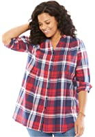 Woman Within Women's Plus Size Pintuck Flannel Bigshirt