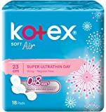 Kotex Soft and Smooth Air Super Ultrathin Day Pads, 24cm, 18ct