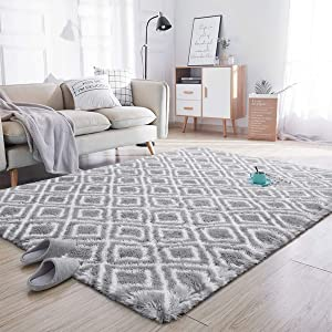 Noahas Soft Area Rugs for Bedroom Living Room Shaggy Patterned Fluffy Carpets for Nursery Baby Rooms Silky Smooth Fuzzy Kids Play Mats Christmas Thanksgiving Holiday Decor Rug, 4ft x 6ft, Light Grey