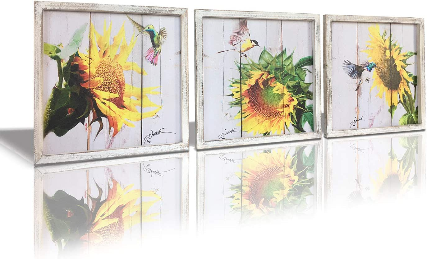 Sunflower Canvas Wall Art with Frame – Canvas Print Pictures Painting, 14 x 14 inch x 3 pcs Flower Artwork Wooden for Wall