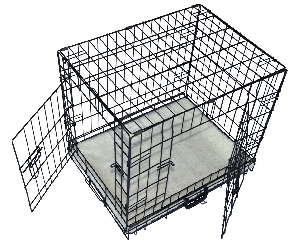 Cool Runners Tall Boy Large Wire Pet Crate 30'' x 21'' x 24'' With Bonus Faux Sheepskin Mattress by Cool Runners (Image #1)