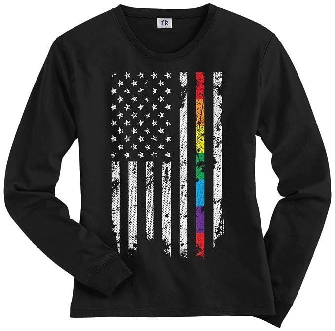 Threadrock Women s Gay Pride Rainbow American Flag Long Sleeve T-Shirt S  Black dd6b705a5e