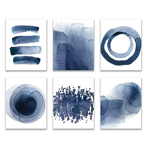 Amazon Com Wall Art Prints 8x10 Unframed Abstract Blue Watercolor Paintings For Bedroom Living Room Kitchen Bathroom Dining Room Home Decor Accents Home Decorations Set Of 6 Handmade