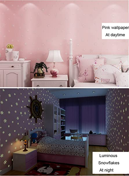 Glow In The Dark Kids Pattern Contact Paper Self Adhesive Non Woven Wallpaper For Girls Bedroom