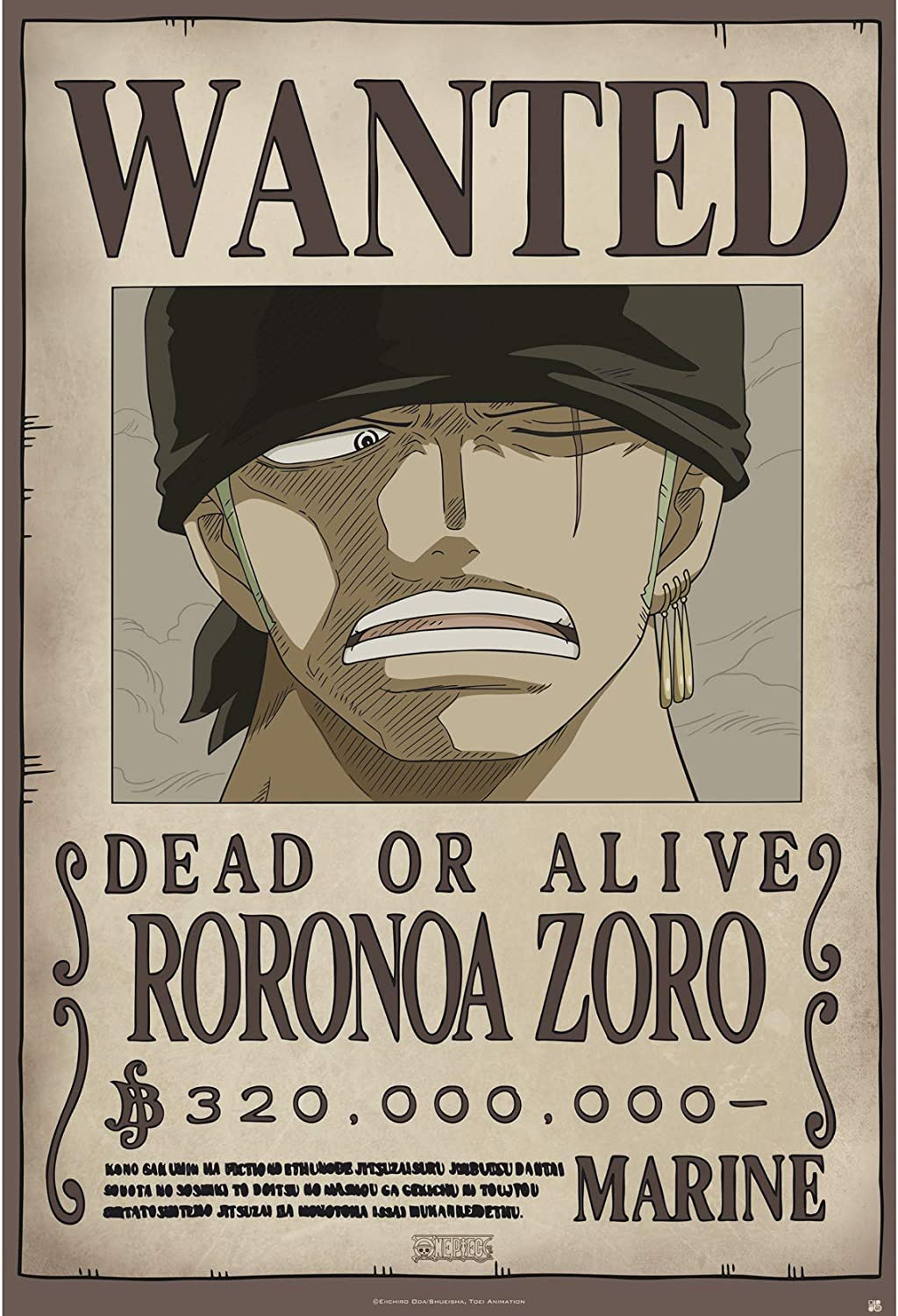 """ABYstyle - ONE PIECE - Poster """"Wanted Zoro new"""" (91.5x61 ..."""