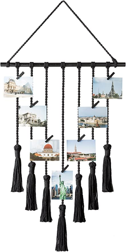 FIOBEE Photo Hanging Display Wall Picture Holders Wall Hanging Pictures Organizer Home D/écor for Nursery Room with 30 Clips