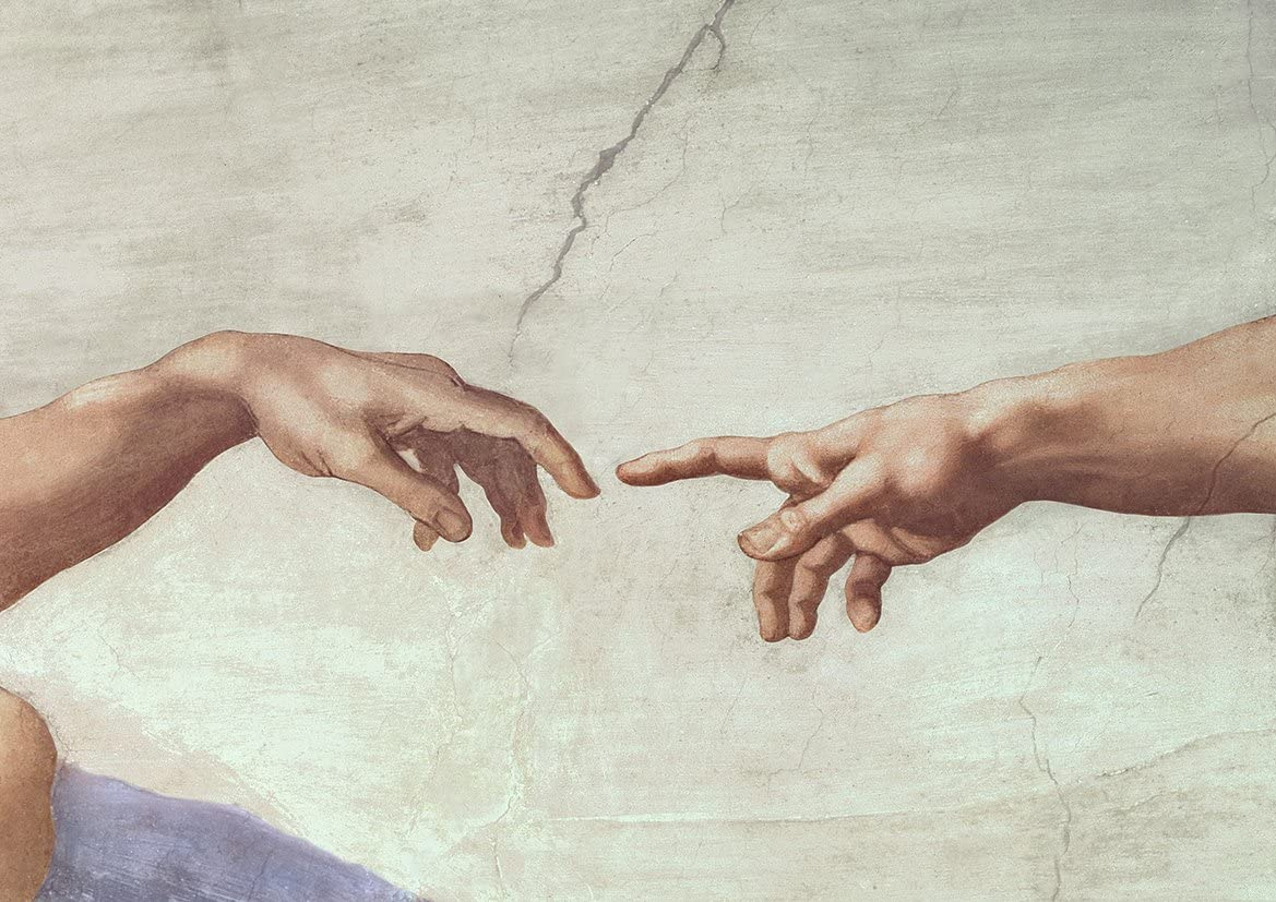 Amazon.com: Michelangelo: Hands of God and Adam, Detail from The ...