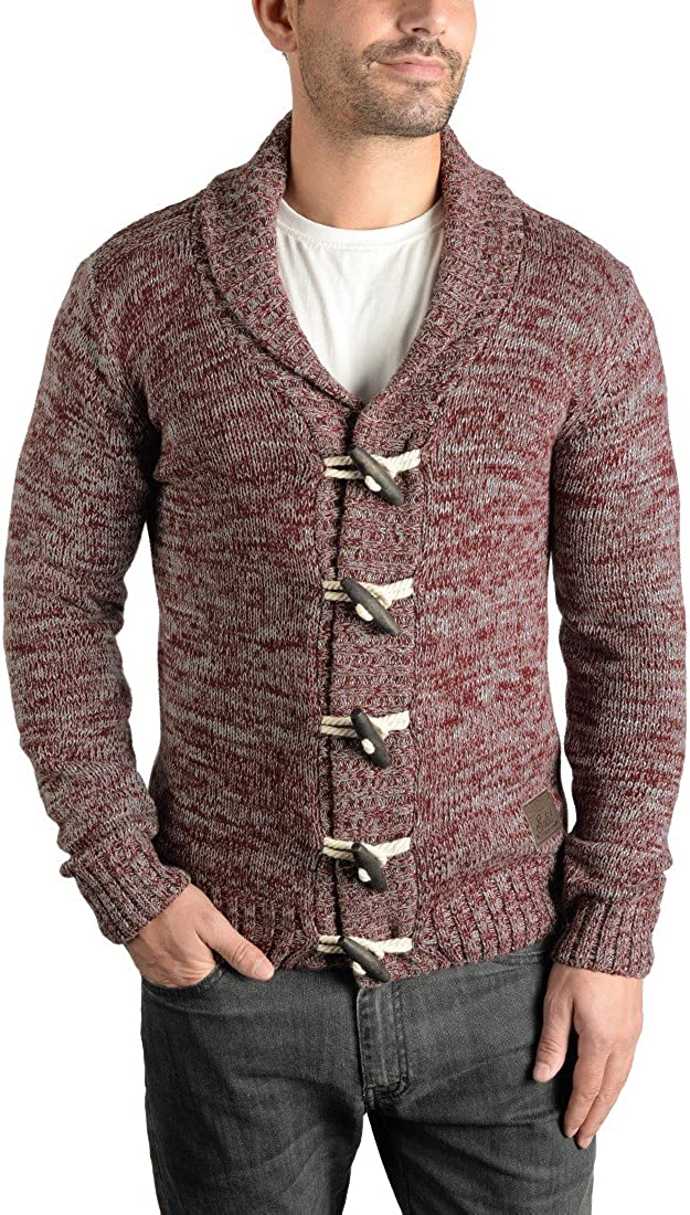 Solid Prewitt Mens Cardigan Chunky Knit Jacket With Shawl Collar Made Of 100/% Cotton