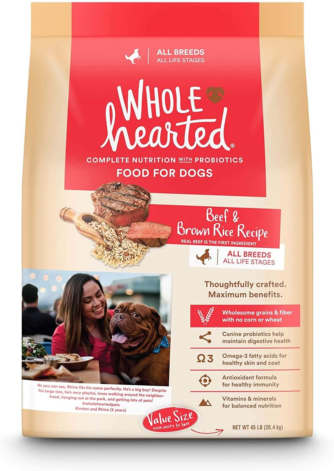 WholeHearted All Life Stages Beef and Brown Rice Recipe Dry Dog Food, 45 lbs.