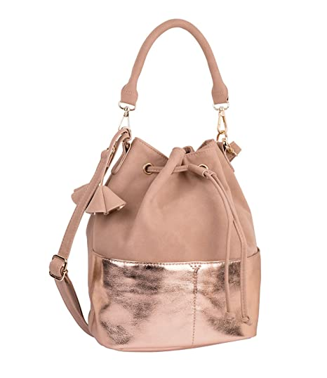 SIX Trend Damen Handtasche, Bucket Bag in Wildleder Optik und metallic Highlights (726-193)