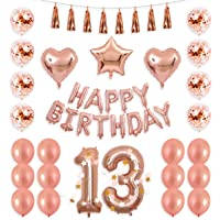 BALONA 40inch Rose Gold 16th Number Balloon 12inch Rose Gold Confetti Balloon with Happy Birthday Banner Star Balloon Heart Balloon Foil Rose Gold Tassel Garland for Birthday Party Decoration (Rose16)