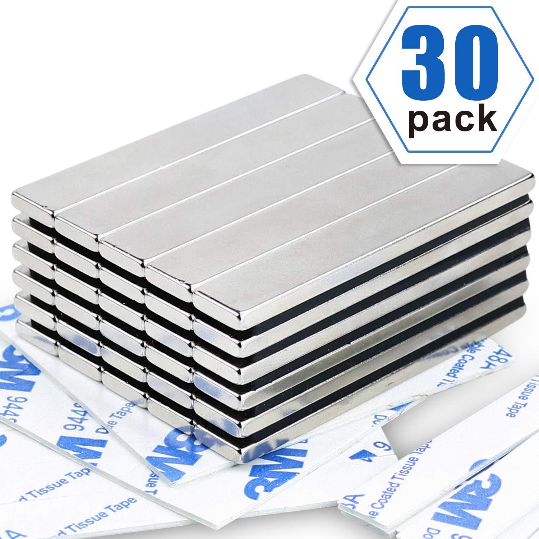 Powerful Neodymium Bar Magnets, Rare-Earth Metal Neodymium Magnet - 60 x 10 x 3 mm, Pack of 30