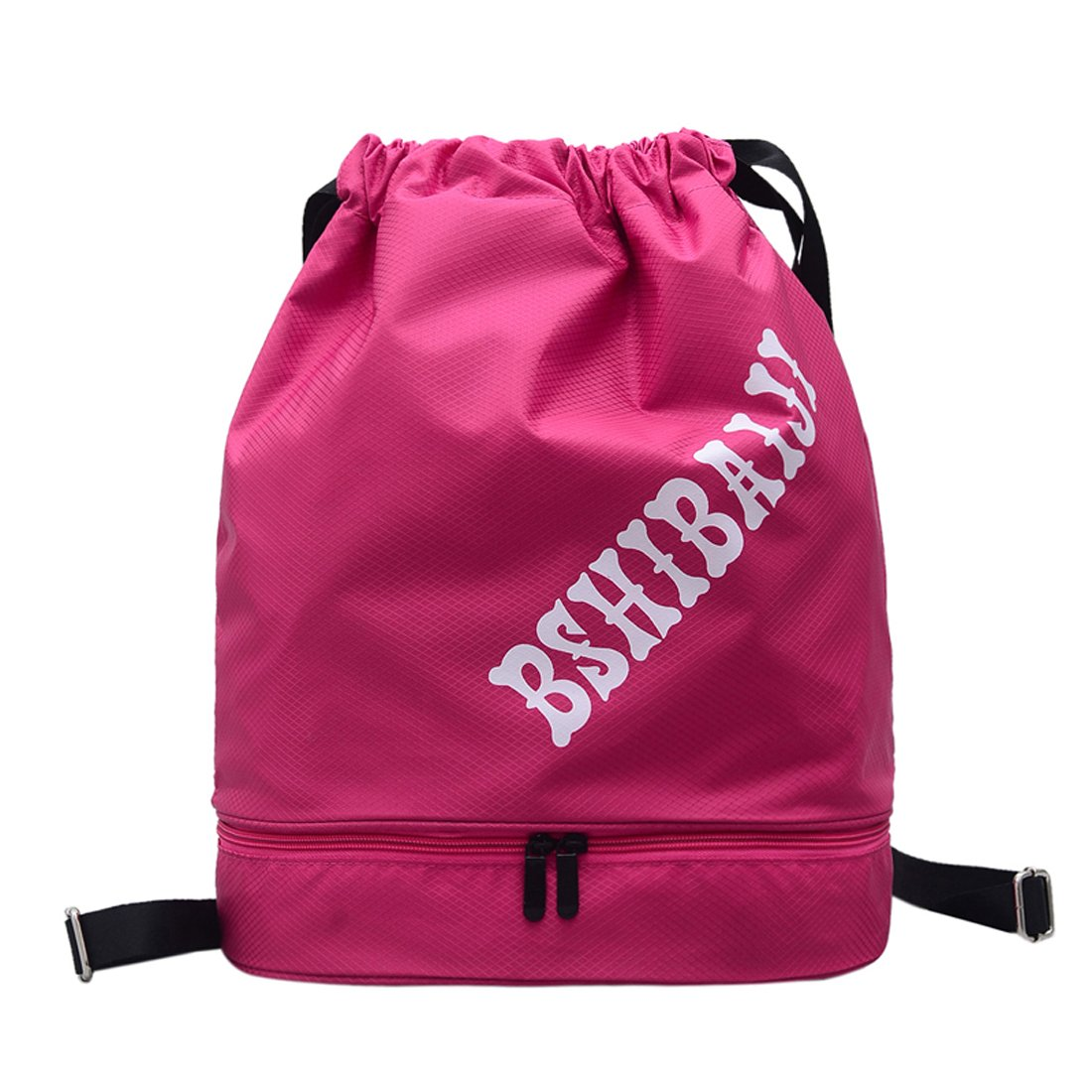 Dry Wet Separated Swimming Bag Drawstring Backpack Waterproof Gym Sack Sports Bag for Men and Women (Rose)