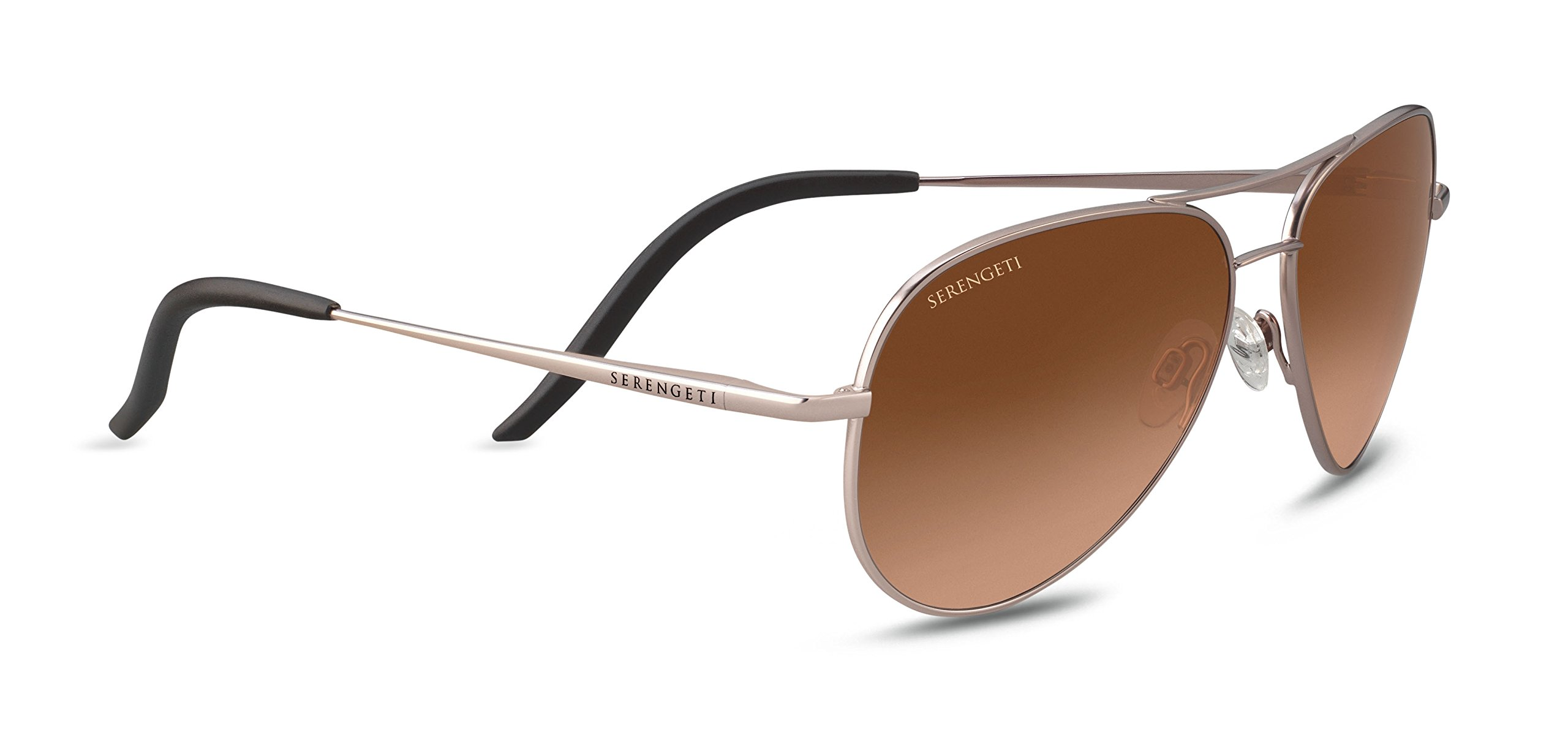 Serengeti Carrara Small Sunglasses Satin Rose Gold, Brown by Serengeti