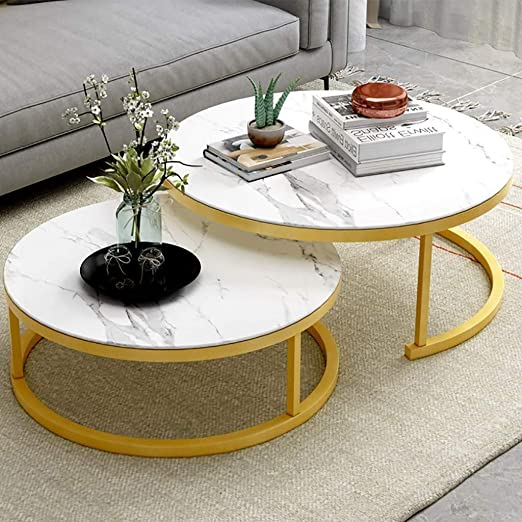 GOXJNG Mesa de Centro Café Auxiliar Redondo Elegante mesas de ...