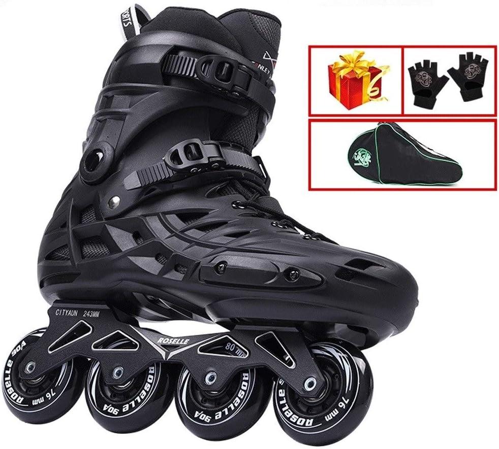 XDSAインラインスケート インラインスケート、成人用のシングルロースケート、男性用と女性用のブラックスケート(大きいサイズ36-46) (Color : 黒, Size : EU 43/US 10/UK 9/JP 26.5cm)