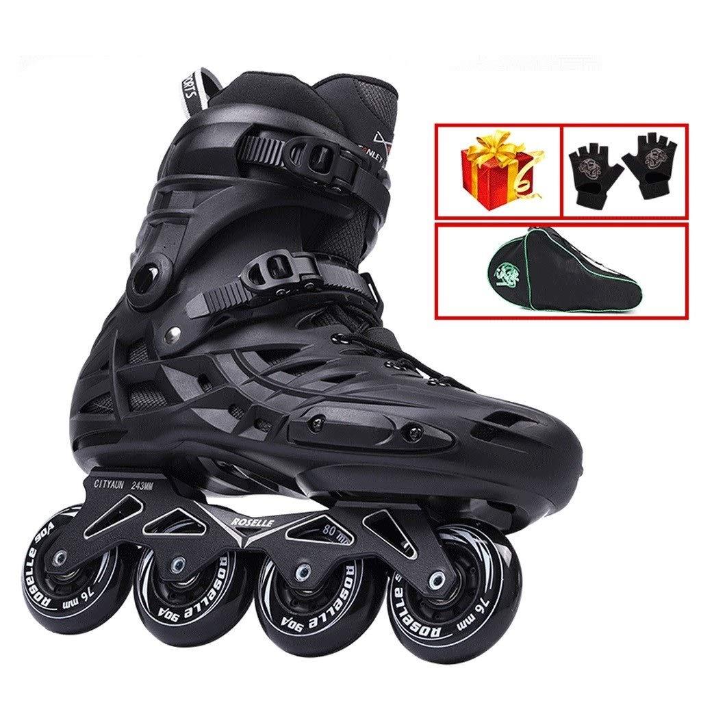 XDSAインラインスケート インラインスケート、成人用のシングルロースケート、男性用と女性用のブラックスケート(大きいサイズ36-46) (Color : 黒, Size : EU 39/US 7/UK 6/JP 24.5cm)