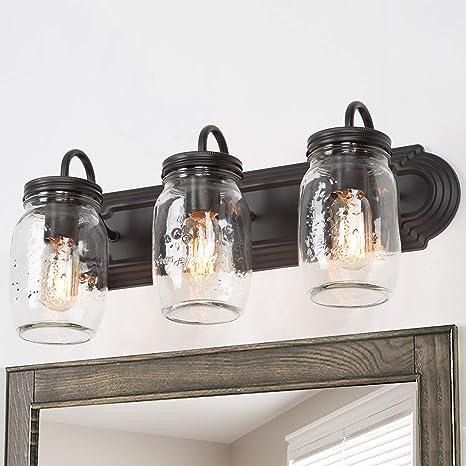Lnc Bathroom Vanity Light Fixtures Farmhouse Mason Jar Wall Sconce Over Mirror With Oil Rubbed Bronze A02980 Amazon Com