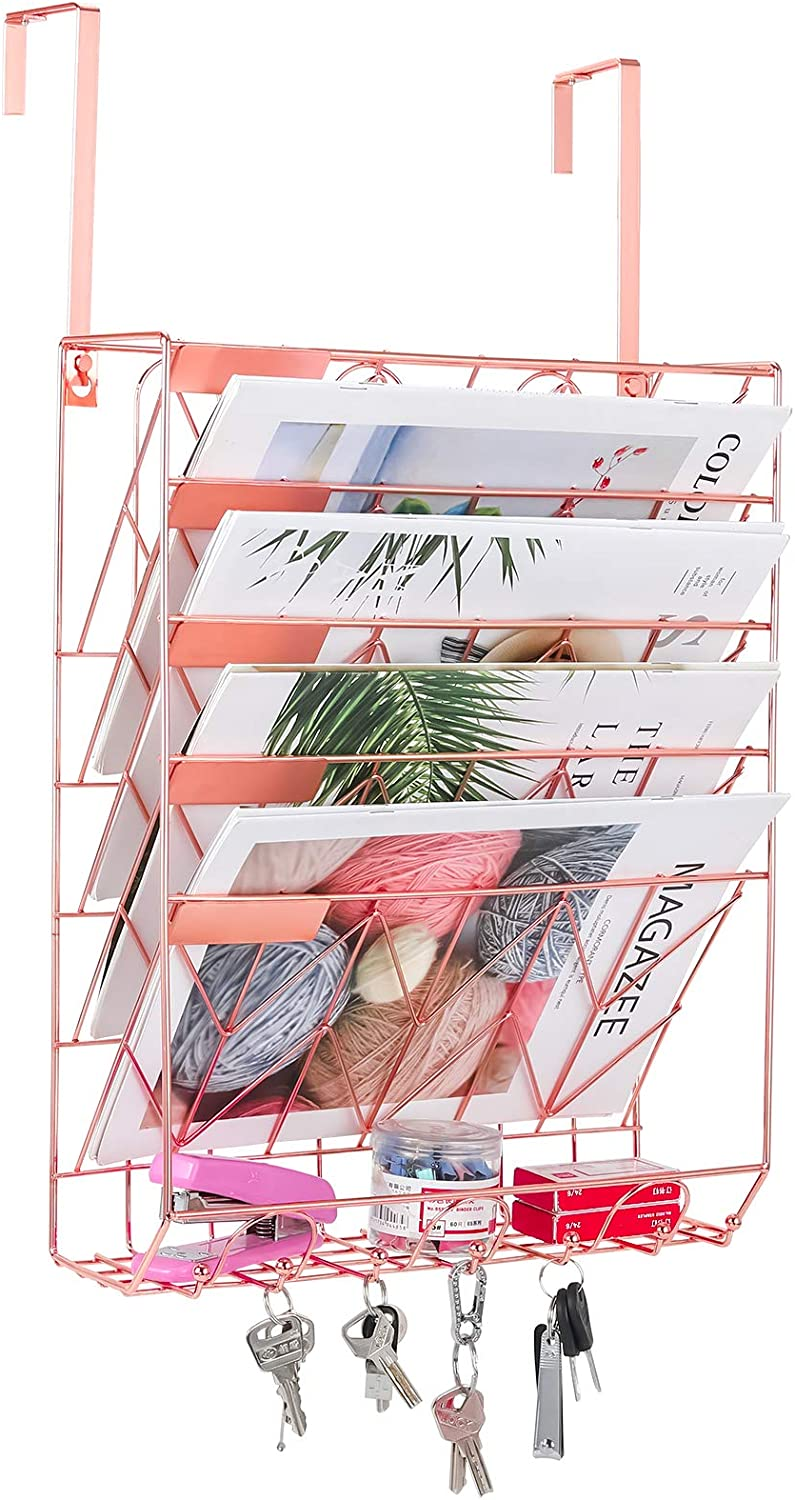 PAG Wall File Holder Hanging Mail Organizer Wall Mount Magazine Rack with 7 Hooks for Office Home, 6 Tier, Rose Gold