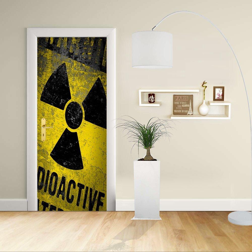 Autocollant de porte - Design- Alerte radioactive-AVERTISSEMENT radioactif - Décoration adhésive pour portes meubles maison-Print pour porte dimensions personnalisables-impression sur PVC (CM 60X200)