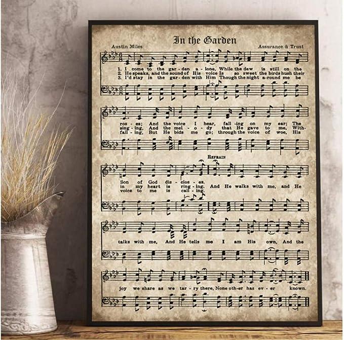 Amazon Com Xtszlfj Music Hymn In The Garden Canvas Prints Antique Sheet Music Scripture Wall Art Picture Painting Christian Gift Farmhouse Decor 42x60cm Frameless Posters Prints